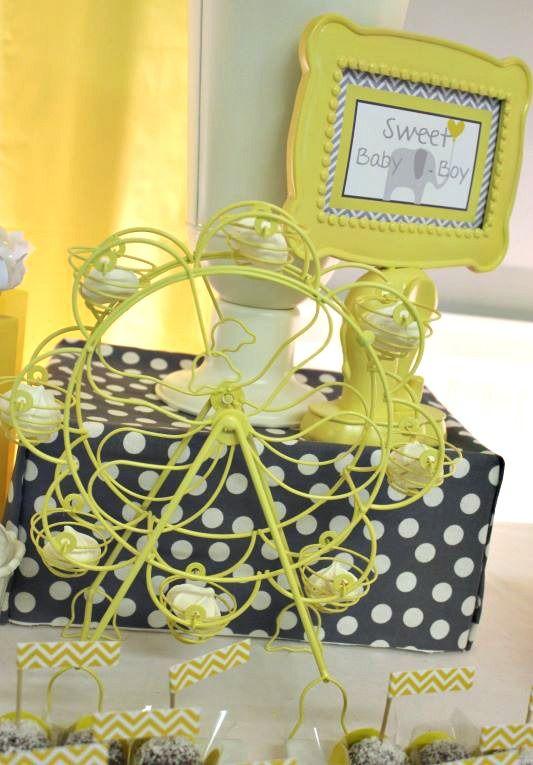 yellow gray chevron baby shower ideas elephant theme decor ideas