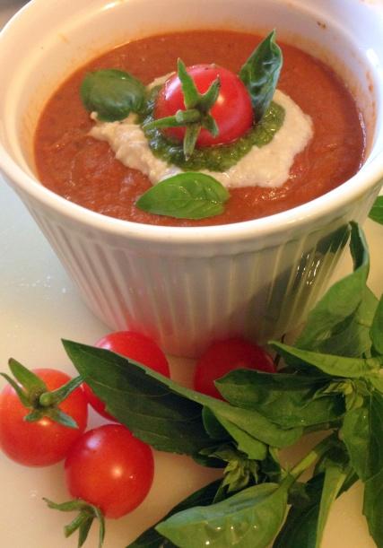 Rustic roast tomato soup with cashew cream and pesto