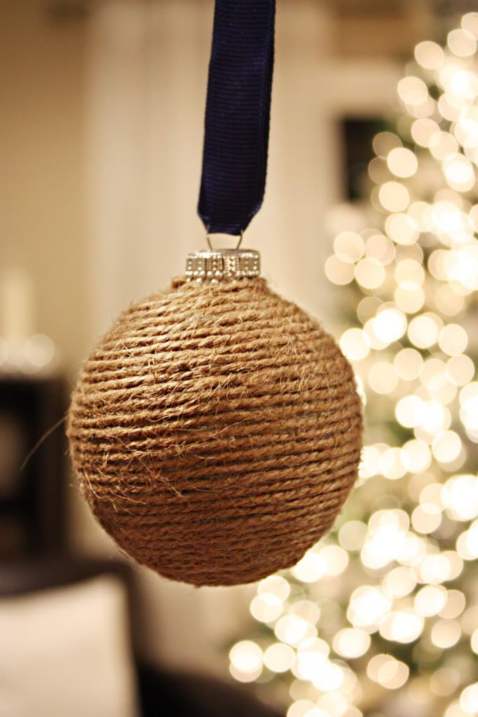 Twine-wrapped Christmas ornaments