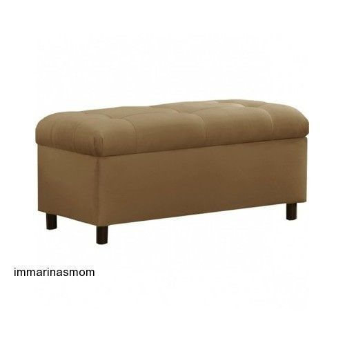Furniture Tufted Linen Storage Bench Tufted Wood Seat