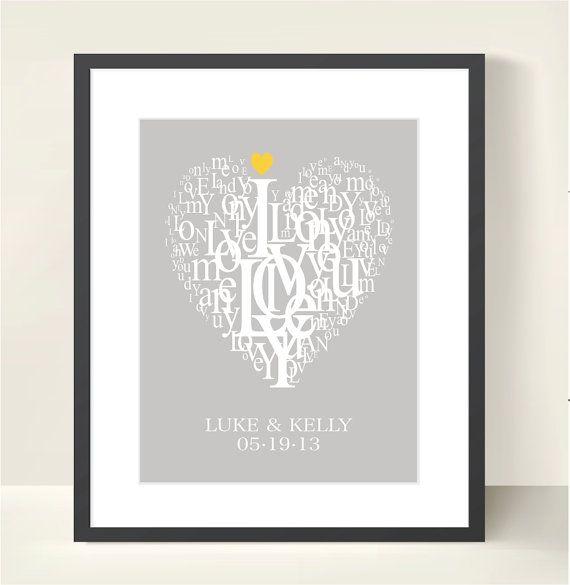 LOVE. Wedding Engagement Anniversary Gift Personalized Modern Typogra ...