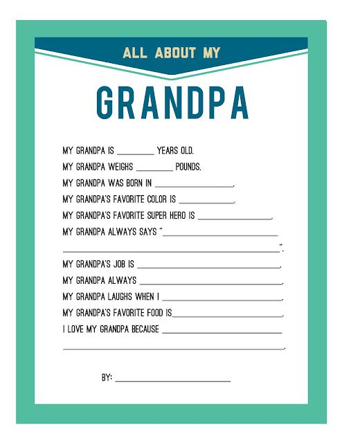Fathers Day Printable for Grandpa