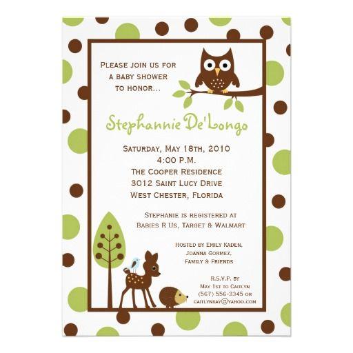 theme 5x7 forrest woodland animal baby shower invitation from zazzle