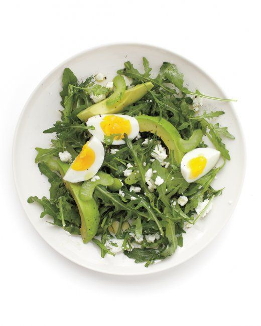 Avocado, Egg, and Feta Salad [celery, arugula, dill, evoo, lemon juice ...