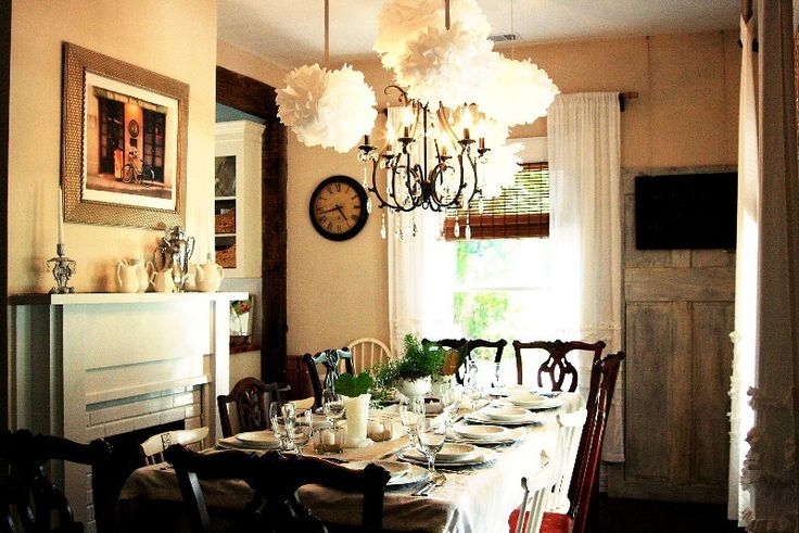 Our dining room featured in the Pottery Barn blog! The Celeste Chandelier in a Charming Cottage Dining Room