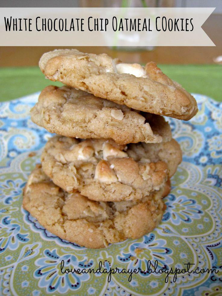 white chocolate chip oatmeal cookies | Yummmm! | Pinterest