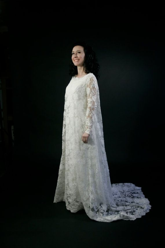 Vintage lace wedding dress 60s s by thetrousseau on etsy 325 00