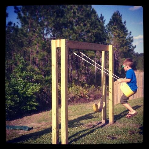 Handmade swingset diy home decor pinterest for How to make a metal swing set frame