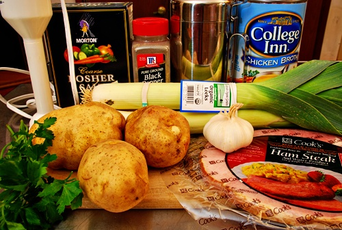 Ham, potatoes, leeks, roasted garlic - Sounds TASTY and relatively ...