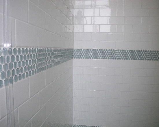 Penny tile accent in the bathroom tile pinterest for Bathroom accent tile designs