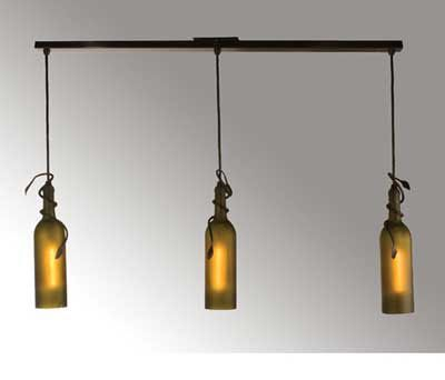 Three Light Wine Bottle Ceiling Bar Ceiling Fixture