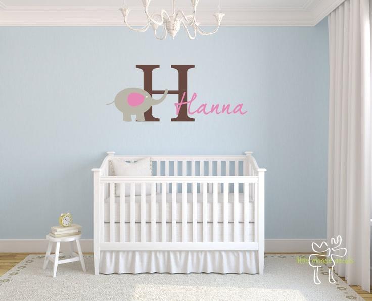 Children Wall Decal Baby Name Monogram Vinyl - Nursery Decals Letter Child Elephant Girl. $37.00, via Etsy.