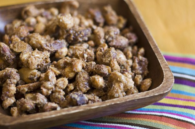 Sugar and Spice Candied Nuts Mixed nuts, covered in beaten egg, sugar ...