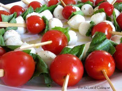 tomato, basil & mozzarella skewers. Ahaha, we can bring a cooler & be...