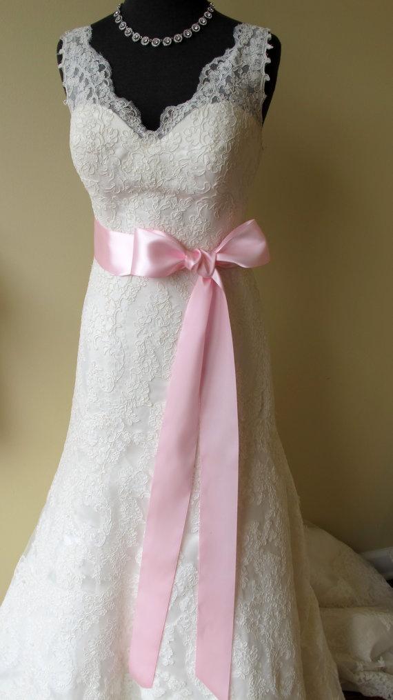 Pink Wedding Dress Sash : Bridal sash quot light pink satin ribbon