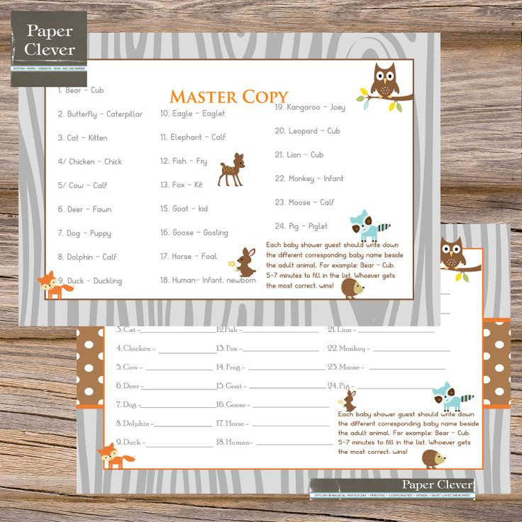 woodland animal baby shower game baby animal match instant download
