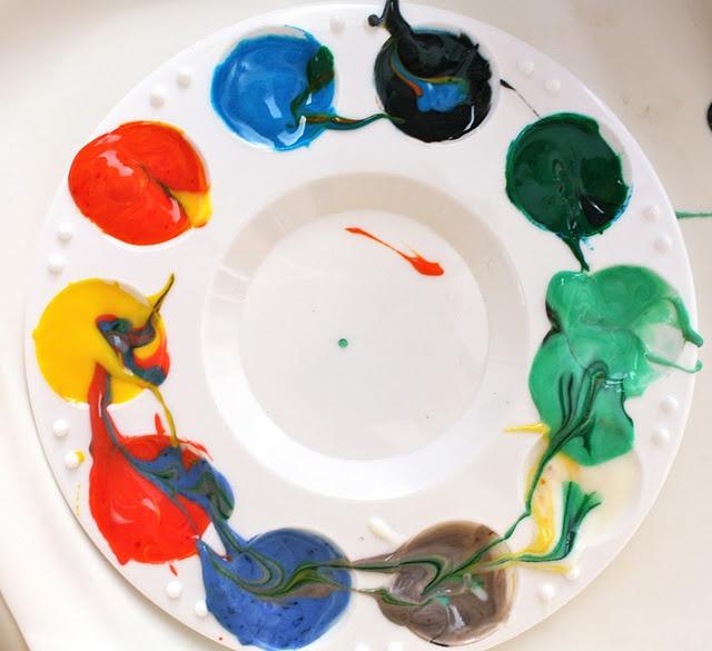 Vanilla yogurt + food coloring = great and safe finger paint