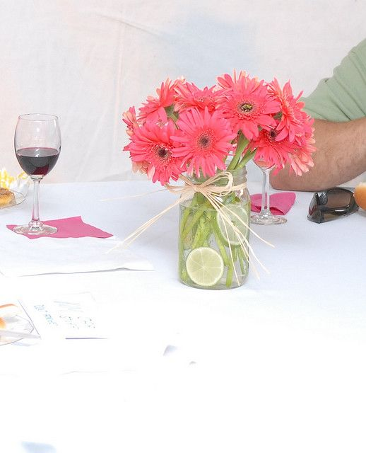 Gerbera centerpiece kims wedding pinterest