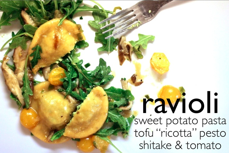 "Dinners: Sweet Potato Ravioli. Sweet potato pasta, tofu ""ricotta ..."