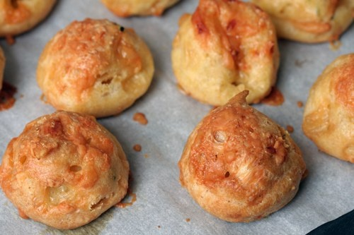 ... Gougeres - French Cheese Puffs with mimolette cheese and chives