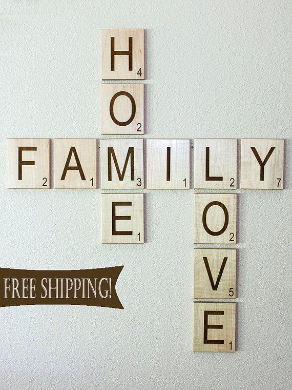 Scrabble Letters Wall Decoration : Large individual scrabble letters tiles crossword