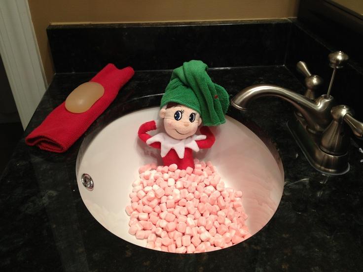 Elf in marshmallow bath | Elf on shelf ideas | Pinterest