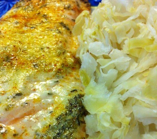 Thyme Roasted Salmon with Sauerkraut | Seafood | Pinterest