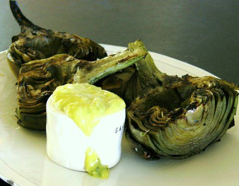 grilled artichokes never made the sauce but the grilling technique is ...