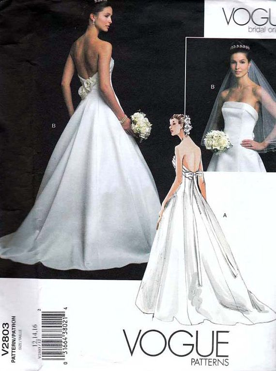 Vogue bridal original wedding dress pattern 2803 uncut for Wedding dress patterns online