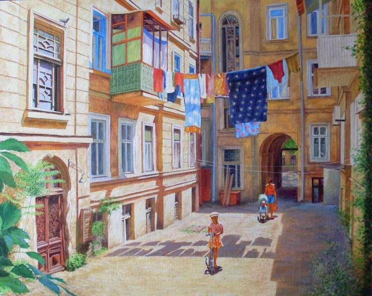 Рисунки городских дворов