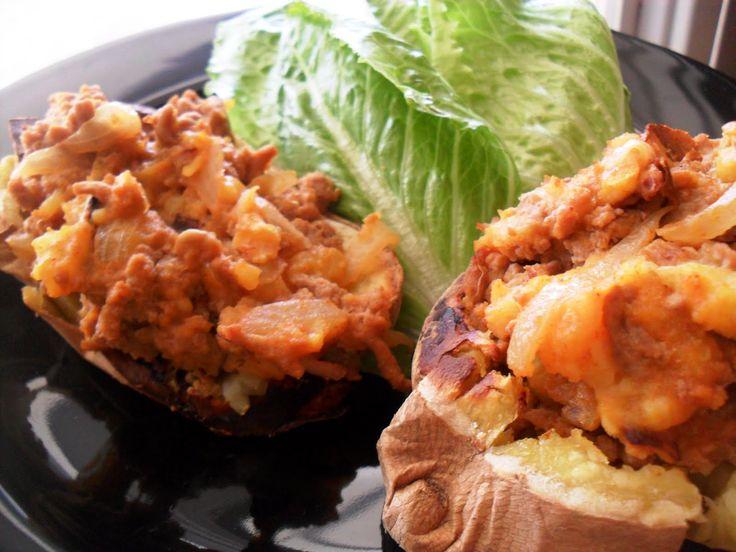 Loaded Turkey Stuffed-Twice Baked Sweet Potatoes   PaleOMG - Paleo ...