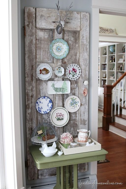 decorating ideas vintage door plate wall