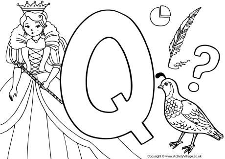 Q Coloring Page letter Q colouring page | *♣* Smart Kids Printables ...