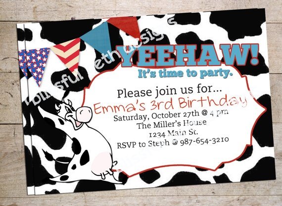 Yeehaw Cow Personalized Birthday Invitation by BlissfulBethDesigns, $ ...: pinterest.com/pin/241153755019482923