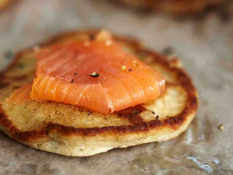 Buckwheat-Cheddar Blini with Smoked Salmon (mini pancakes topped with ...