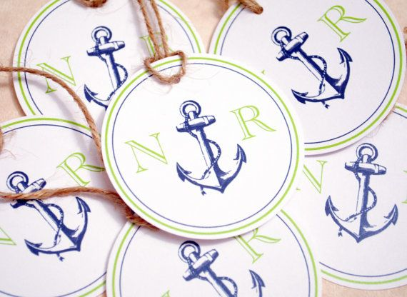 Nautical Wedding Gift Tags : Nautical Wedding Favor Tags, Wedding Monogram Tags, Wedding Monograms ...