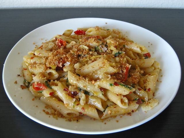 Cherry Tomato Penne with Fried Garlic Breadcrumbs - A Sage Amalgam