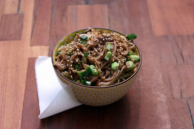 spicy soba noodles with shiitakes by Elly Says Opa, via Flickr
