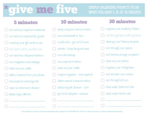 Give Me Five: Simple Organizing Projects to Do When You Have 5, 10, or 30 Minutes | Home Your Way