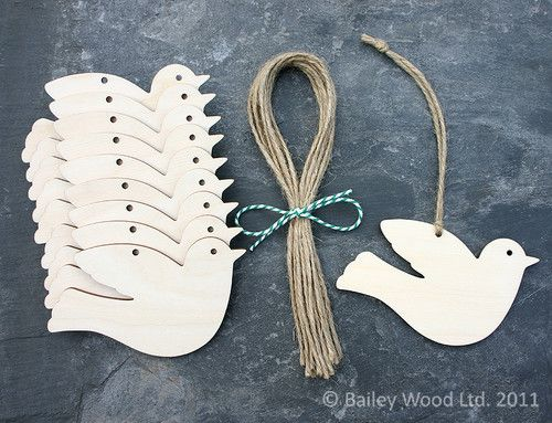 Wooden Bird Peace Dove Christmas Decoration Rustic Craft