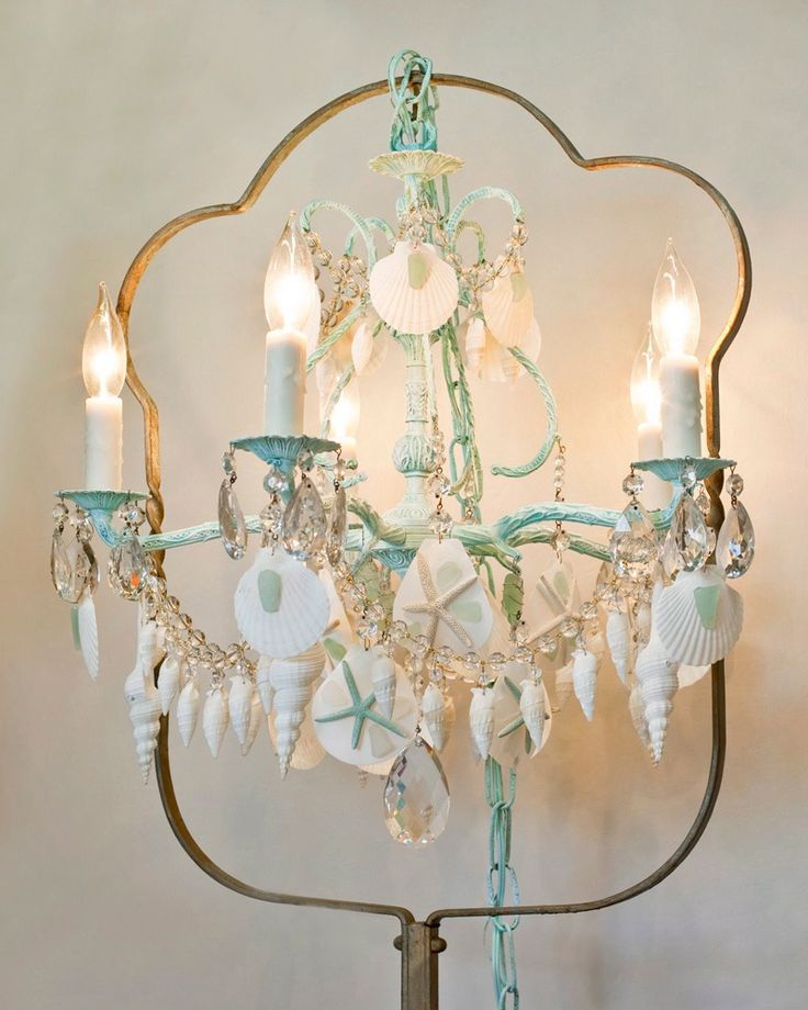 FRESH FROM THE SEA by Marjorie Stafford Design, Vintage Spanish Metal Chandelier