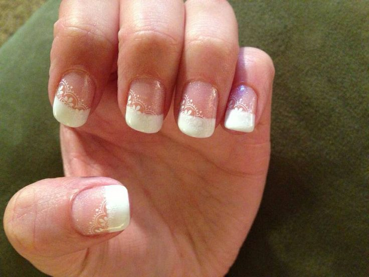 French Tip With Lace Accent