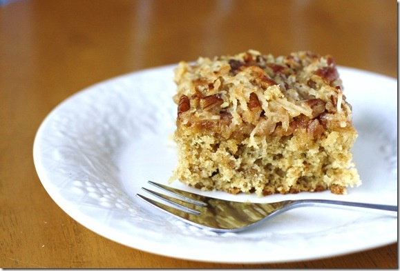 ... Cake with Coconut and Pecan Topping. Coffee or Tea, yum. #cake #
