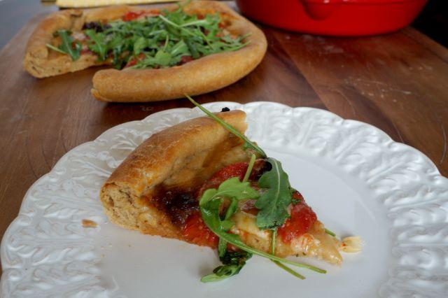 roasted tomato, arugula, and bacon jam pizza | The Baking Fairy