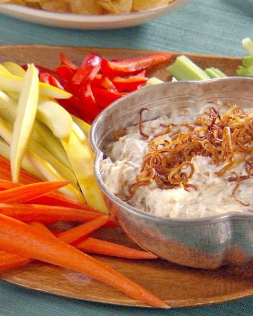 Caramelized Onion and Bacon Dip with Potato Chips and Crudite Recipe ...