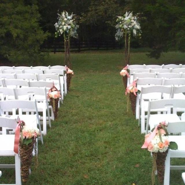 Simple outdoor ceremony decor larissa and jake pinterest for Simple outdoor wedding ceremony ideas