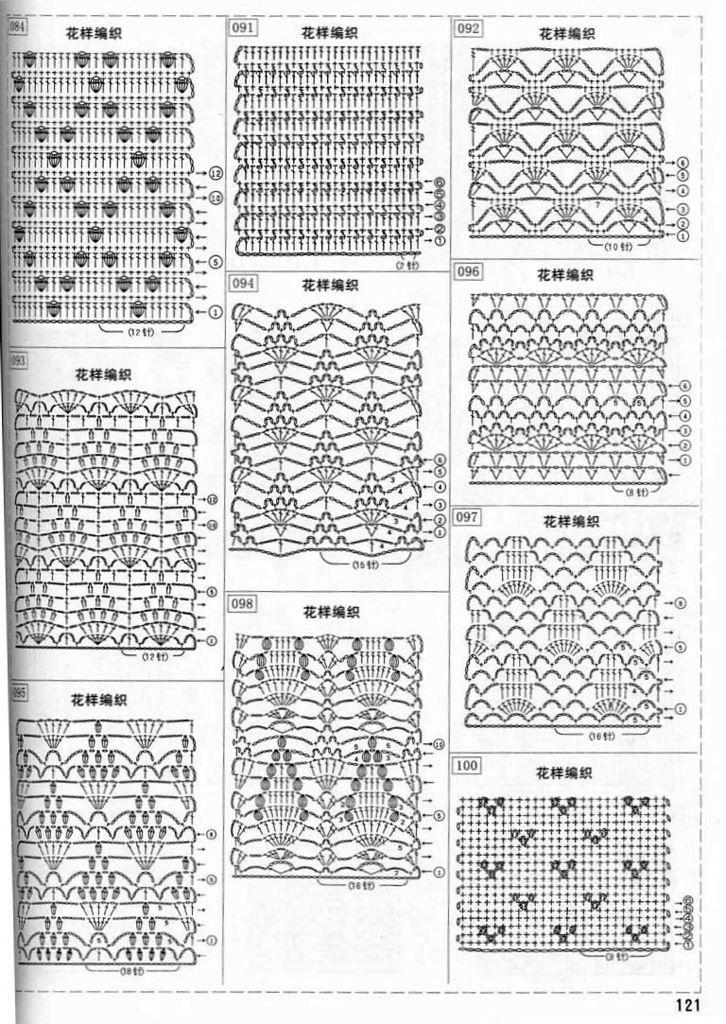 Вязание крючком схемы палантины японские 746