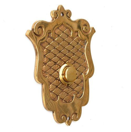 Antique Shield Push Button Doorbell Cover Plate Buzzer