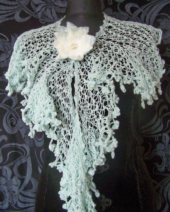 Style Knitting Patterns : PDF knitting pattern - lace knitted scarf IRIS victorian style