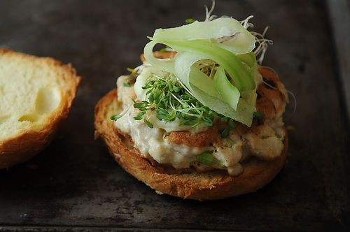 Dinner Tonight is Tuna Burgers + Miso Cabbage Salad Recipe.